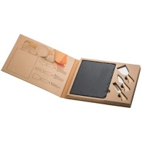 eco cheese set with slate cutting board food preparation