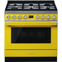 smeg 90cm yellow portofino cooker and multifunction oven