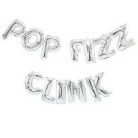 Ginger Ray Christmas Balloon Bunting Pop Fizz Clink Silver