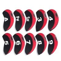 10 piece top window golf iron club head covers red and accessory