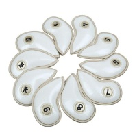 10 piece crystal pu leather golf iron head covers set white accessory