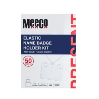 Meeco String Name Badge 4 X 3 Box of 50 Clear