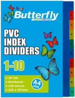Butterfly File Dividers 140 Micron Pp Numbered 1 10