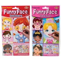 bulk pack x 3 stickers funny face sticker