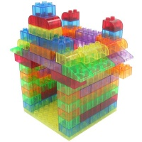 Greenbean Translucent Building Blocks Set with Play Board 73 Pieces