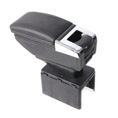 Sliding Storage Armrest Console Black