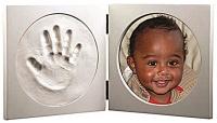 round white frame and clay handprint kit tt frame