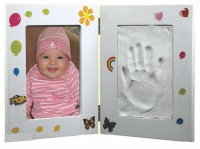 white frame with stickers and clay handprint kit tt frame