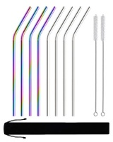 Gretmol Reusable Stainless Steel Straws Bent 8 Pack Rainbow Silver