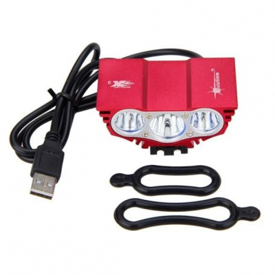 Photo of 3XT6 LED USB Waterproof Bicycle Headlight - Red