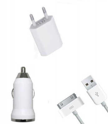 Photo of 3-in-1 Car/Home Charger for iPhone 3/4 iPad 2/ iPad Touch White