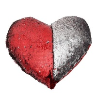 heart shaped mermaid colour changing sequin pillow red and cushion