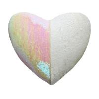 heart shaped mermaid colour changing sequin cushion white cushion