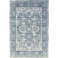 Waltex Area Rug Stressed Medalion Blue Haze