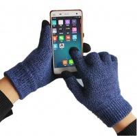 tuff luv three finger touch screen woolen gloves blue