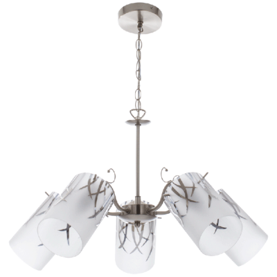 Photo of Bright Star Lighting Satin Chrome Chandellier with Patterned Frosted Glass