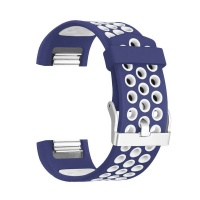 navy and white large silicone sports band for fitbit charge accessory