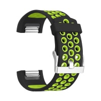 black and green large silicone sports band for fitbit accessory