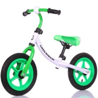 little bambino balance bike with adjustable seat green and neck brace