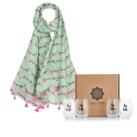 gin tribe gift box flamingo scarf and 4 x life tumblers gift set