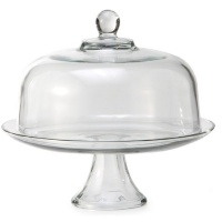 Anchor Hocking Presence Glass Cake Stand with Glass Dome 2 Piece Set