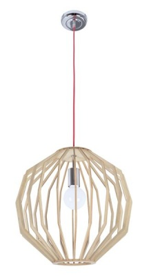 Photo of Bright Star Lighting Round Polished Chrome and Wood Pendant