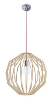 bright star lighting round polished chrome and wood pendant home decor