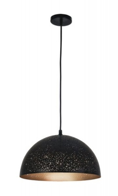 Photo of Bright Star Lighting Rounded Meshed Matt Black Domed Metal Cord Pendant