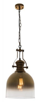 Photo of Bright Star Lighting Satin Brass Pendant with Faded Gold Colour Glass