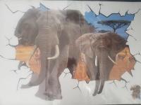 3d wallfloor sticker elephants