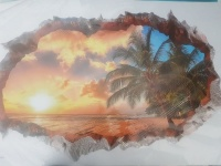 3d wallfloor sticker sunset palm tree