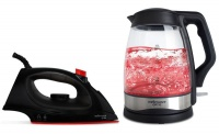 Mellerware Pack Cordless Glass Kettle With Steam Iron Black
