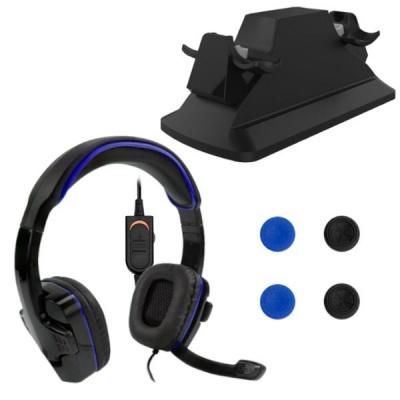 Sparkfox PS4 Gaming Bundle SF1 Headset Dual Control Charger Thumb Grips