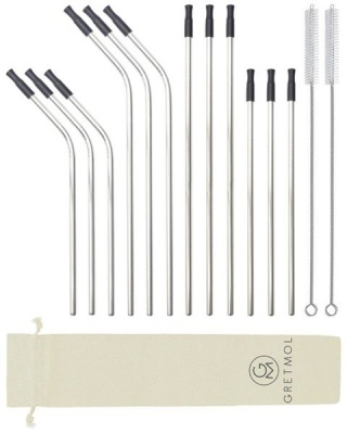 Reusable Silver Metal Straws Combo With Silicone Tips 12 Pack