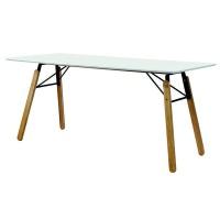hanson 180cm dining table white with oak leg table