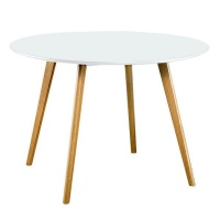 hanson 120m round dining table white with oak leg table
