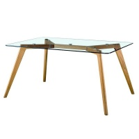 hanson 120cm dining table glass with oak leg table