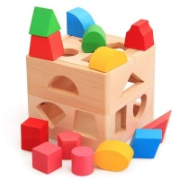 Shape Sorter Wooden Cube Educational Toy Box with 13 Colourful Shapes