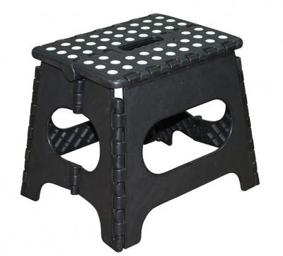 Folding Plastic Step Ladder Stool Black