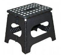 Folding Plastic Step Ladder Stool Black