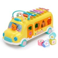 classic xylophone school bus toy with shape sorter walker