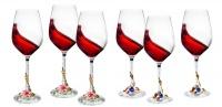 6 Piece Wine Glass Set With Rhinestone Filled Stems AND Royal Enamel Decor