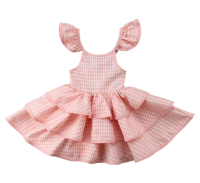 plaid flying sleeve princess dresses