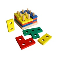 Wooden Tetris Educational Geometric Board Block Stack Puzzle Toy