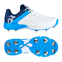 kookaburra kc 2 spiked cricket shoes white and blue team sport