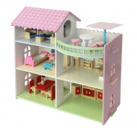 wooden doll house rooftop patio dollhouse doll