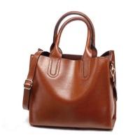 FCG Faux Leather Shoulder Handbag Toffee Brown
