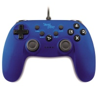 steelplay wired controller metallic blue ps3pc