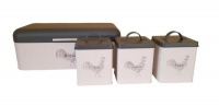 rooster range bread bin with 3 pieces canister set