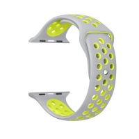 govogue active silicon apple watch band silver and yellow accessory